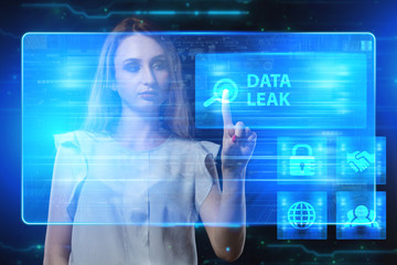 The concept of business, technology, the Internet and the network. A young entrepreneur working on a virtual screen of the future and sees the inscription: Data leak