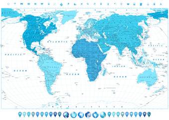 Wall Mural - World Map in colors of blue and 3d globes