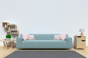 Living room bright interior with sofa . 3D rendering
