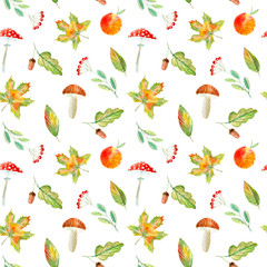 Seamless pattern of a rowan, floral, basket, berries,maple,boletus, apple and agaric. Autumn picture. Watercolor hand drawn illustration.White background.