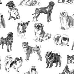 Seamless pattern with oriental dogs, handmade ink painting,  on white background. Chinese zodiac background. Textile design.
