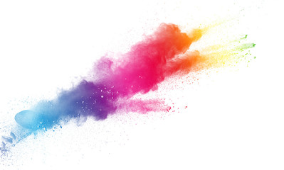The explosion of color powder. Beautiful powder fly away. The cloud of glowing color powder on white background