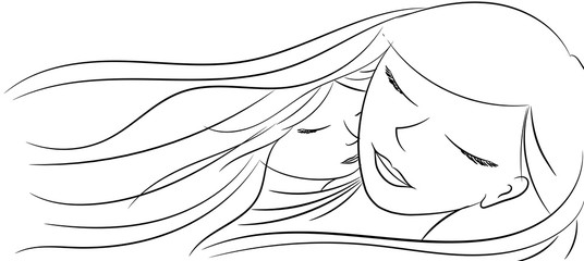 Love of a mother and a daughter that sleeping together - Vector illustration isolated on white background