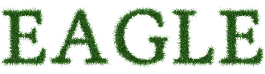 Eagle - 3D rendering fresh Grass letters isolated on whhite background.