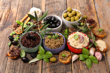assortment of tapenade and dips