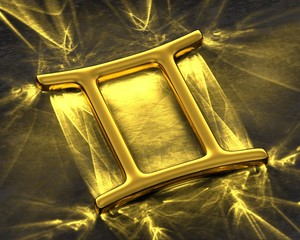 Sign of the zodiac in gold with caustics - Gemini