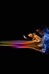 Abstract colorful smoke on black background, smoke background,colorful ink background,Yellow, Violet, Orange, Blue,beautiful color smoke