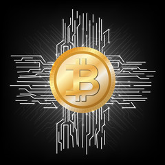 Bitcoin. Crypto currency. Net. The Internet. Payment. Electronic money. The icon.