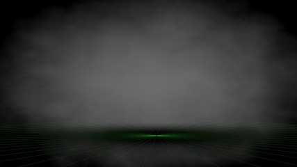 3d rendering of a dark black background studio with light in the middle