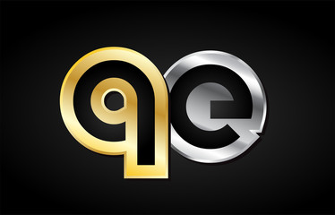 gold silver letter joint logo icon alphabet design
