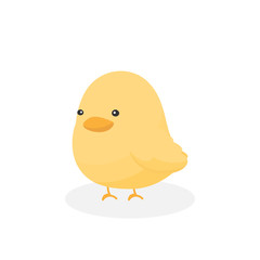 Adorable little baby chicken in flat style. Cute chick cartoon. Vector illustration