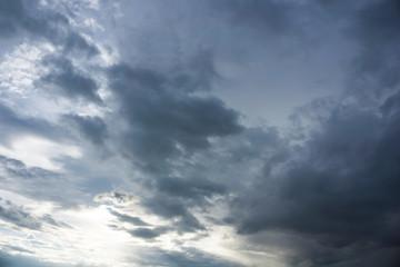 blue cloudy sky with golden sun ray at dusk