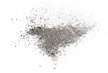 Ash isolated on white background, texture, top view