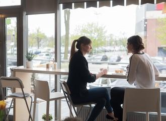 Female friends sitting by window