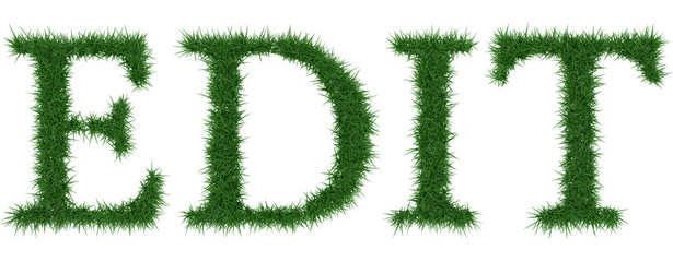 Edit - 3D rendering fresh Grass letters isolated on whhite background.