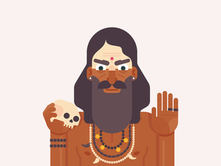 Holy Men of India. Cartoon character of an Holy Sadhu man with traditional painted face. Monk practicing Shaivism. Flat vector illustration