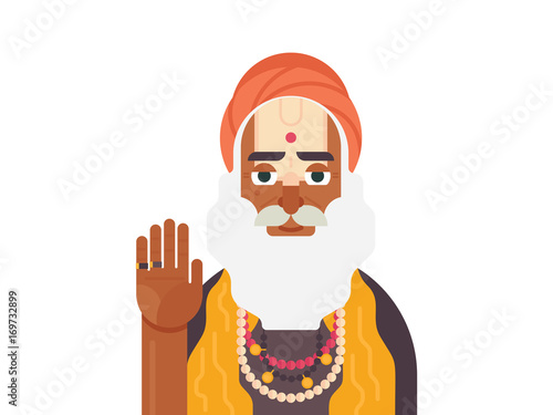 holy sadhu of india. cartoon character of indian old man. sadhu monk