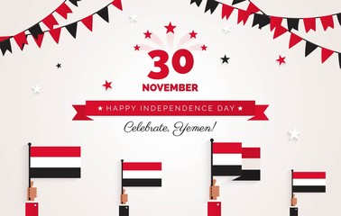 30 november.Yemen Independence Day greeting card.  Holiday background with waving flags, ribbon and garlands. Vector flat illustration