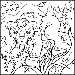 Cartoon saber-tooth tiger coloring book