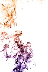 Abstract colorful smoke on white background,colorful ink ,Violet,purple, Orange