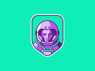 Space logo. Vintage astronaut badge. Spaceman vector illustration