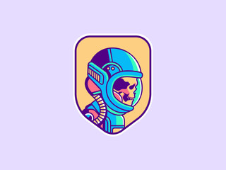Space logo. Vintage astronaut skull badge. Spaceman vector illustration