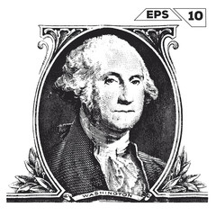 George Washington on one dollar bill obverse