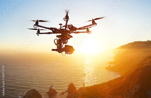 Innovation photography concept  Silhouette drone Flying over San