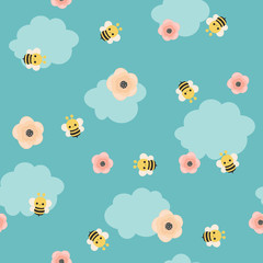 Bumble bee vector seamless pattern