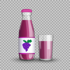 Grape juice in a transparent glass bottle isolated in a glass cup on transparent background Vector illustration