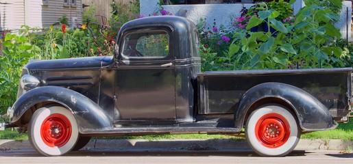 Antique black pickup in front of flower garden