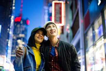 Beautiful Asian couple in Times Square