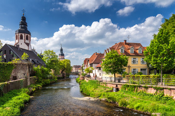 Cityscape by the river Alb in Ettlingen, Black Forest, Baden-Wurttemberg, Germany, Europe