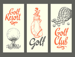 Golf layout banners with ball, backet, bag, clubs, glove. Vector set of hand-drawn sports equipment. Illustration in sketch style on white background. Brush calligraphy elements for your design.