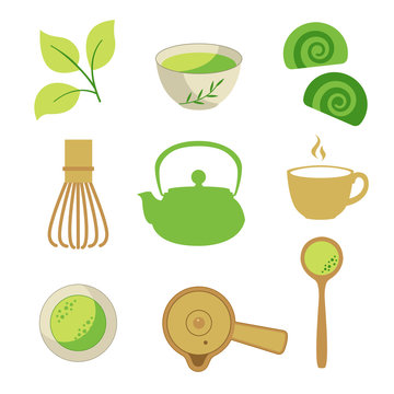 Japanese ethnic and national tea ceremony. Matcha icons set. Traditions of teatime. Decorative elements for your design. Vector Illustration with party symbols on white background.