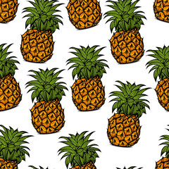 Background of pineapple fruit, hand-drawn vector illustration