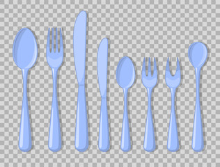 Cutlery set icons isolated fork spoon usual than Vector Illustration