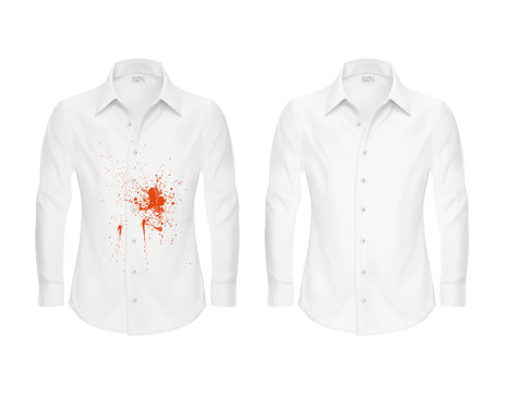 Set of vector illustrations of a white shirt with a red stain from ketchup, blood and clean, before and after a dry cleaning isolated on a white background. Print, template, design element
