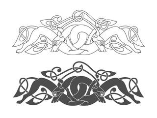 Ancient celtic mythological symbol of wolf, dog, beast. Vector k