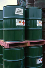 Drums of mono isopropylamine in storage compound, Greater manchester, UK