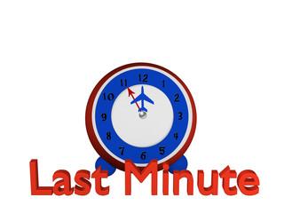 Uhr mit Flugzeug als Zeiger, steht auf fünf vor zwölf