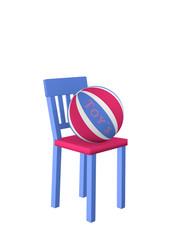Stuhl auf dem ein Ball mit dem Text Toy's liegt