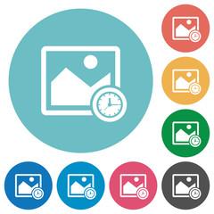 Image time flat round icons