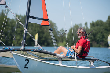 resting on a sailboat