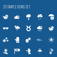 Set Of 20 Editable Climate Icons. Includes Symbols Such As Breeze Cone, Happy Man, Eyeglasses And More. Can Be Used For Web, Mobile, UI And Infographic Design.
