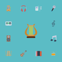 Flat Icons Musical Instrument, Tone Symbol, Audio Box And Other Vector Elements. Set Of Studio Flat Icons Symbols Also Includes Cassette, Speaker, Musical Objects.