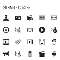 Set Of 20 Editable Cinema Icons. Includes Symbols Such As Clapperboard, Cinematography, Tablet Play And More. Can Be Used For Web, Mobile, UI And Infographic Design.