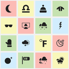 Set Of 16 Editable Climate Icons. Includes Symbols Such As Crescent, Thunderstroke, Frostiness And More. Can Be Used For Web, Mobile, UI And Infographic Design.