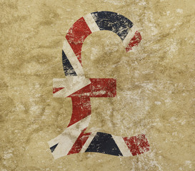 Pound and UK flag icon sign on grunge background
