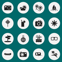 Set Of 16 Editable Journey Icons. Includes Symbols Such As Eyeglasses, Camera, Crossroad And More. Can Be Used For Web, Mobile, UI And Infographic Design.